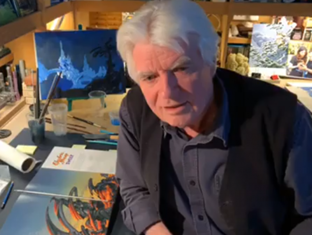 Roger Dean styles and paints the brand-new Yes album cover live on Facebook